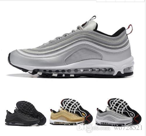 with box 97 shoes Triple white black pink casual shoes Og Metallic Gold Silver Bullet Mens trainer sports Shoes sneakers size 40-45