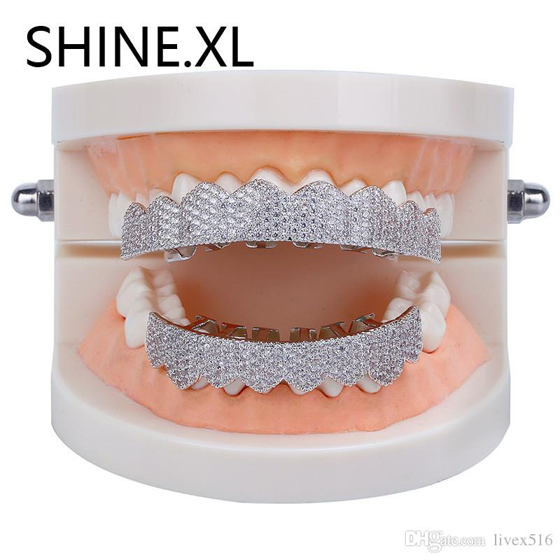 New Fashion Custom Gold Teeth Grillz Hip Hop Iced Out All Cubic Zircon Top & Bottom Tooth Caps Set Bling Body Jewelry