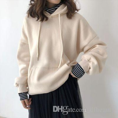 1d240e71fc7 Winter Autumn Women Long Sleeve Designer Hoodies Korean Loose Fashion Gray  Fake Two Pieces Sweater Sweatshirts Free Size Wholesale
