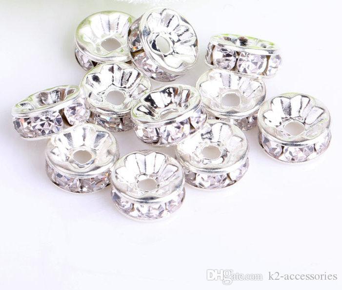 / lotto l'argento bianco Perline rotonde Distanziatori Perle placcato strass di cristallo 6 millimetri 8mm 10mm 12 millimetri perline cristallo monili che fanno fai da te