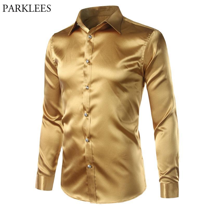 d6d20a0b32297 New Gold Silk Satin Shirt Men Slim Fit Long Sleeve Dress Shirts Mens ...