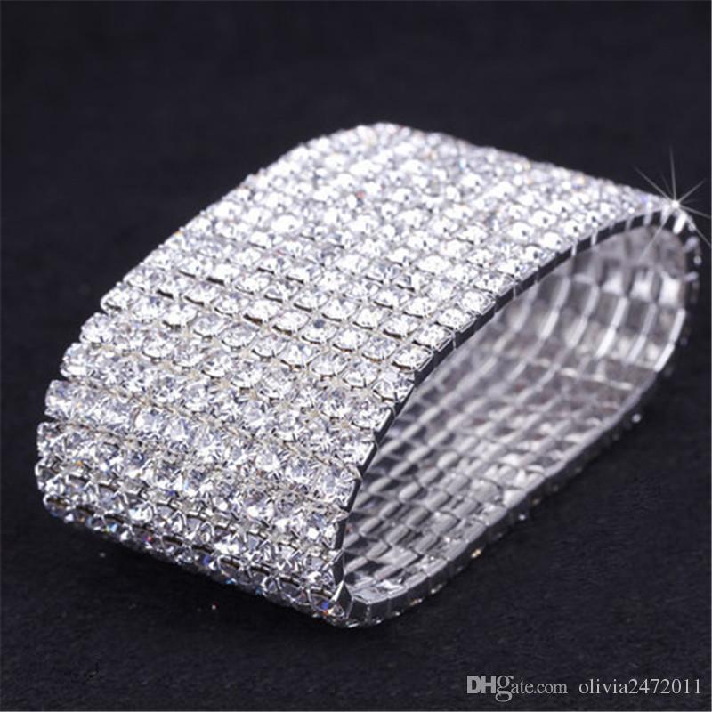 Ny mode kvinna armband kristall rhinestone stretch armband armband för tjejer armbands elastiska bröllop brud smycken