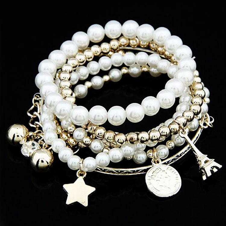 Bangle Elastic Bracelet Pearl Coin Combination Multilayer Element Eiffel Tower Female Bracelet Six Pieces of Ornaments