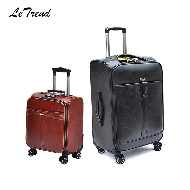 d56ce68949e3 16 20 24 28 Inch Rolling Luggage Spinner PU Leather Carry On Wheel Suitcases  Password Travel Bag Men Business Trolley Handbags Bags From Flaky