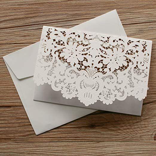 283fcce3d246b Laser Cut Pocket Wedding Invitations Rustic Lace Wedding Invitation Cards  with RSVP Cards Kraft Paper Wedding Invites White - Set of 50 pcs