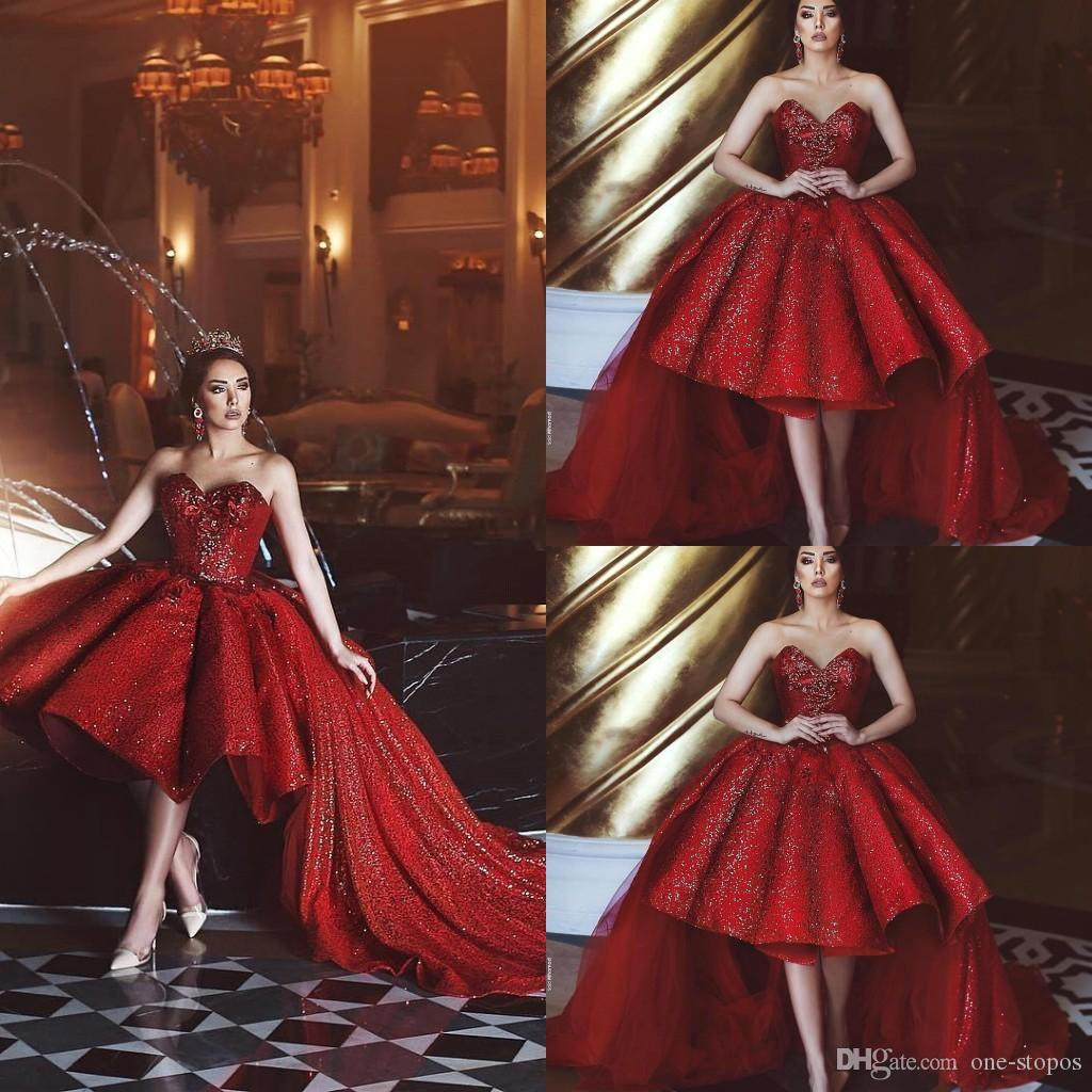 c07c5623da6 2018 Tea Length Dark Red Short Prom Dresses Sweetheart Cocktail Sequined  Sparkly Formal Party Event Gowns With Tulle Long Sweep Train BC0111  Cocktail ...