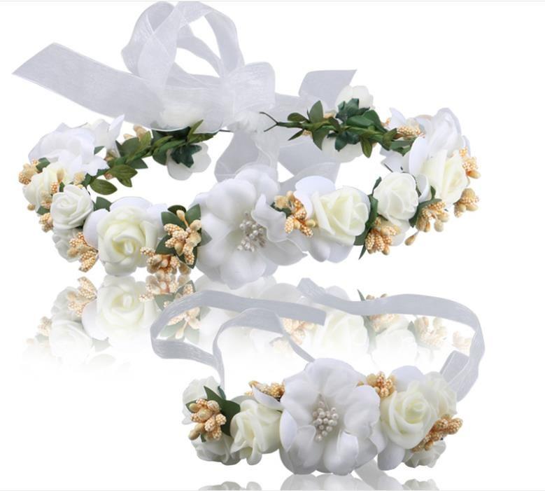 The Bride Bridesmaid wreath headdress headband wrist flower wedding accessories