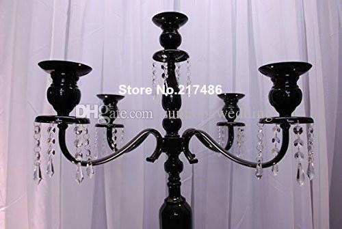 vendita all'ingrosso 5 braccio nero cristallo alto centrotavola candleabra di nozze, antico candeliere di cristallo