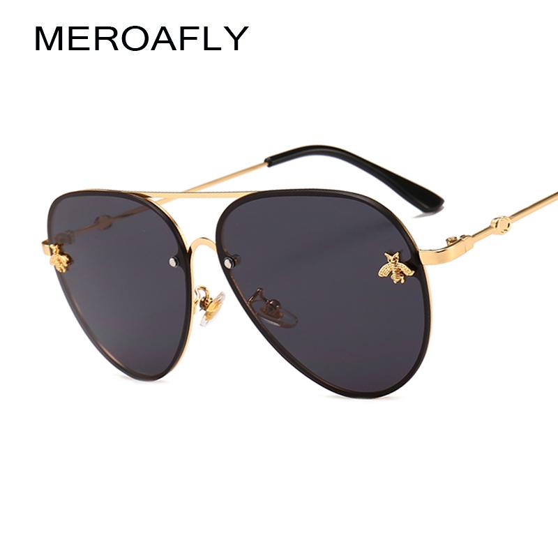 951e7192320 MEROAFLY Bee Pilot Sunglasses Vintage Glasses Shades For Women Men Metal  Frame Fashion New Designer Sunglasses Women Accessories Glasses For Men Mens  ...