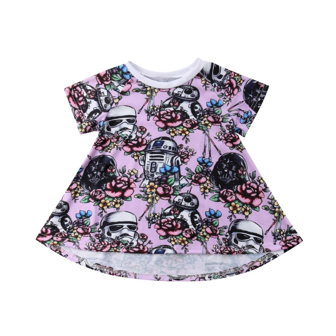 2018 War Newborn Kids Baby Girl Skull Cotton Flowers Dress T-shirt Clothes Purple Summer 0-3Y