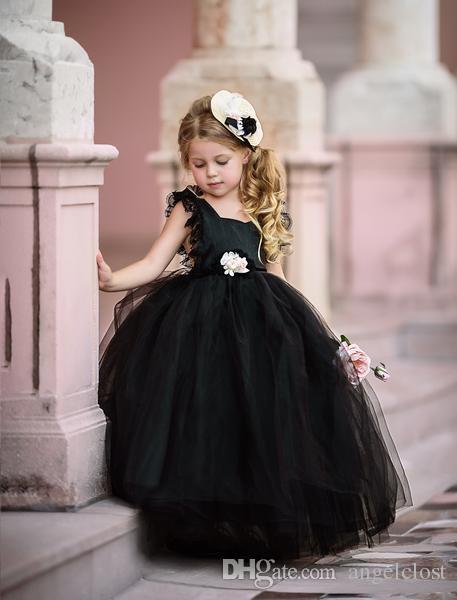 Elegantes Ballkleid-Blumen-Mädchen kleidet für Hochzeiten 2018 Schaufel-Hals-Boden-Längen-Tiered Tulle-Mädchen-Festzug-Partei-Kleider Schwarz-Weiß erröten