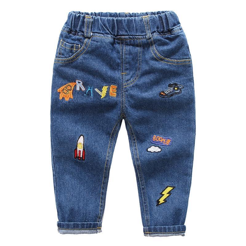 2018 Boys Jeans Pants Cute Cartoon Pattern Kids Jeans For Boys Fashion Elastic Waist Denim Trousers Summer Children Clothing