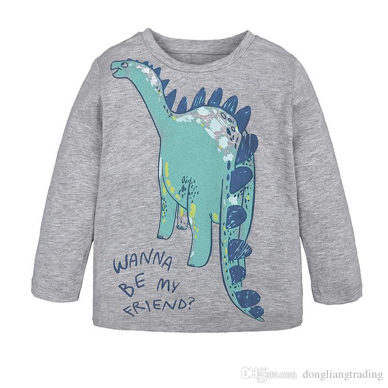 b89a25a5b 2019 New Style Unisex Baby T Shirt Kids Long Sleeve Cartoon Dinosaur ...