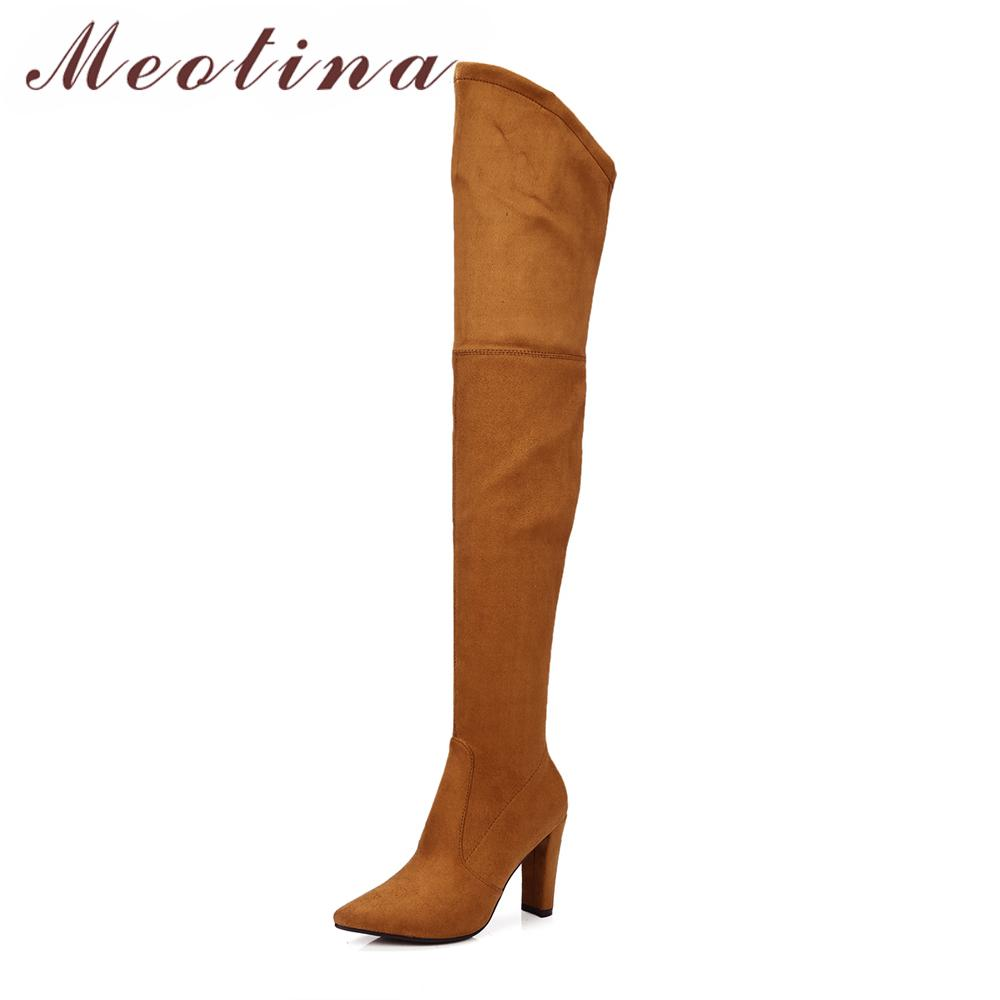 b30d53ad086 Meotina Winter Thigh High Boots Women Over The Knee Boots High Heels Flock Shoes  Sexy Pointed Toe Female 2018 New Big Size 34 43 Slipper Boots Ankle Booties  ...