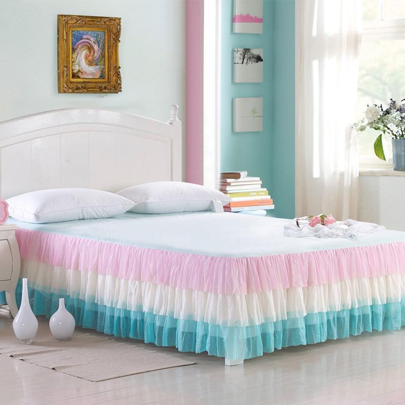 Pink Girls Princess Full Queen Size Bed Skirt Bed Sheet Mattress Cover Set Couvre Lit Colcha De Cama