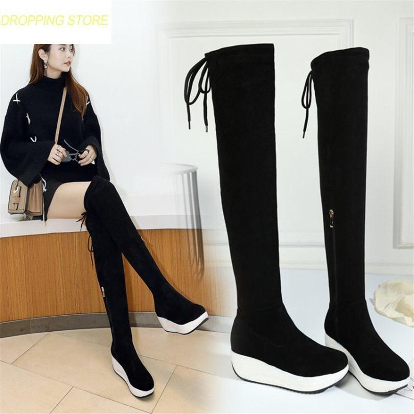 59d5b6c2f13d3 Thigh High Boots Women Black Faux Suede Over The Knee High Riding Booties  Med Heel Tall Shaft Punk Sneaker Shoes Wedge Shoes Boots Online From  Keroyeah
