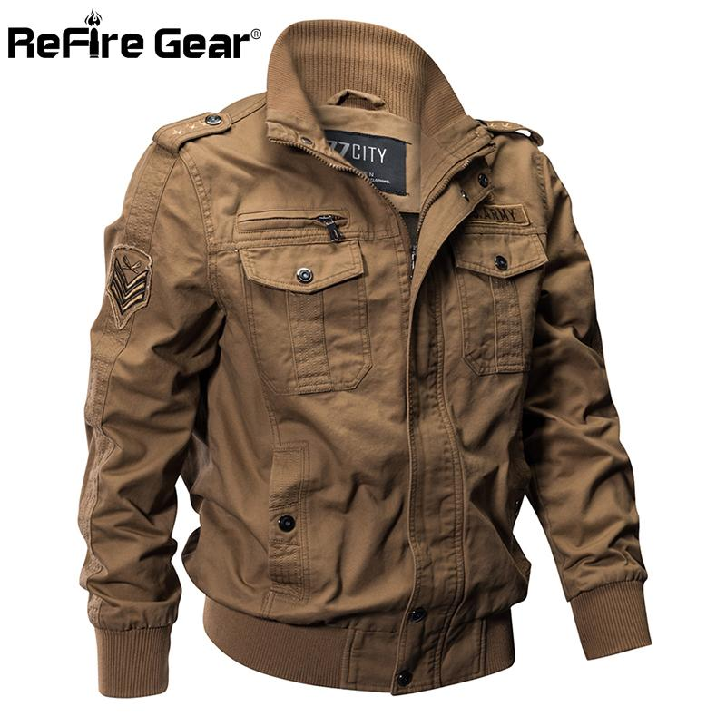 369cb84a700f5 Compre ReFire Gear Military Pilot Chaquetas Hombre Invierno Otoño Bomber  Cotton Coat Tactical Army Jacket Hombre Casual Air Force Flight Jacket  Y1892505 A ...