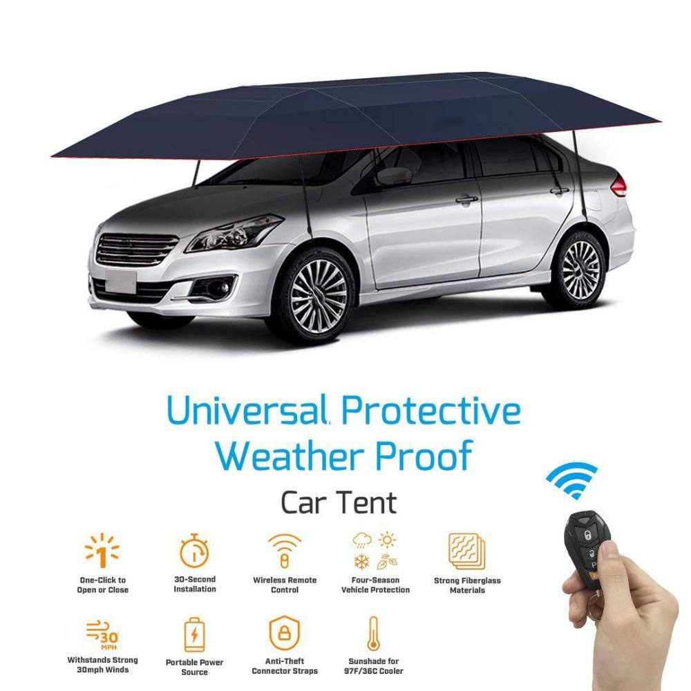 KEMiMOTO Portable Full Automatic Car Cover With Remote Control Car Sun Shade  Umbrella Outdoor Roof Cover UV Protection Kits Weathershield Car Covers  Window ... cd011758423