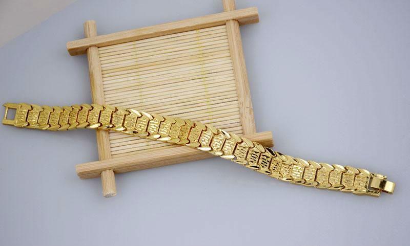 Bracciali bangle Piuttosto bracciale in oro giallo 18 carati riempito con braccialetti orologio da polso in oro massiccio 8,3 pollici
