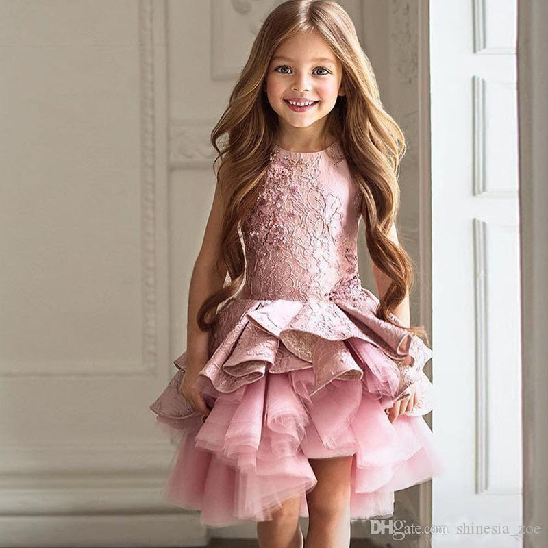 2018 Cute Pink Pageant Dresses Jewel Neck Sleeveless Lace Short Tiered Ruffles Flower Girls Dresses Tulle Skirt
