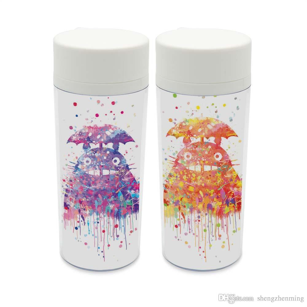 Personalized Watercolor Totoro Bpa Free Plastic Insulated Cartoon Japanese Anime Miyazaki Kids Cute Water Bottles 300ml Gift