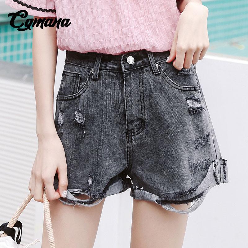 Acheter CGmana Shorts Femmes 2018 Mode Taille Haute Crimpant Trou Shorts  Lâche Large Jambe Denim Court Femme Casual Pantalon Corto Mujer De  23.99  Du Peay ... 42d8590bf0d