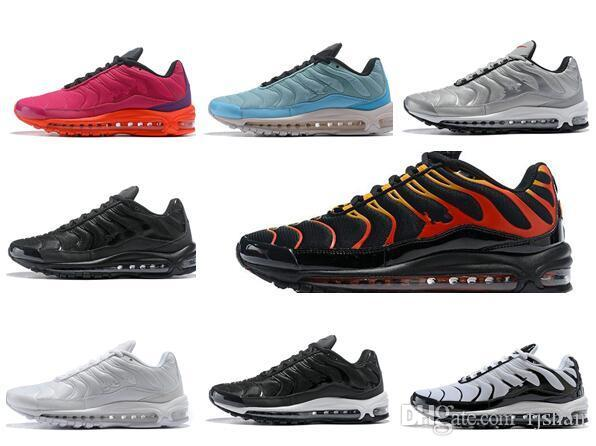 Newest 97 Plus Mens Womens Running Shoes Fire Red Light Green Core Triple  Black White Oreo Silver Bullet Trainer Sports Sneaker Size 36 46 Wedge Shoes  ... 1fe33a502