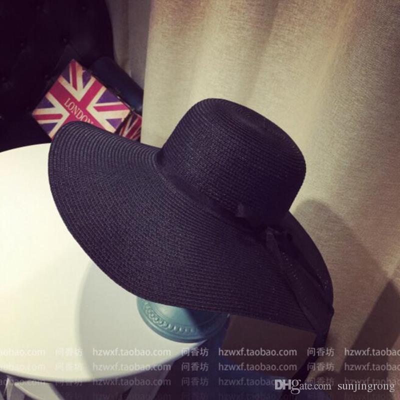 كبير القبعات المرنة طوي قبعة القش بوهو واسعة حافة القبعات الصيف قبعة الشاطئ لسيدة في الهواء الطلق قبعات الشمس