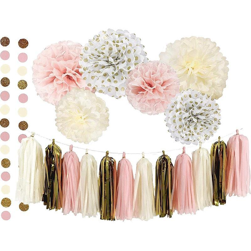2019 Baby Shower Tissue Paper Flower Tassel Decoration Party Set For