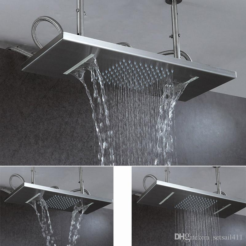 2018 Ceiling Rain Shower Head Brushed Rainfall Waterfall Bathroom ...