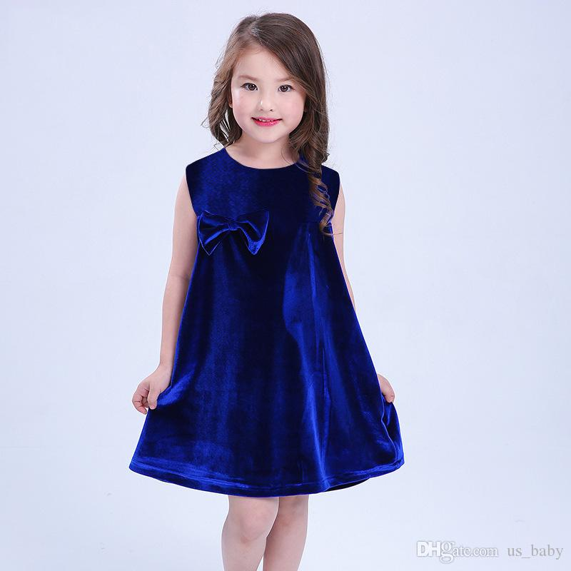 6b067233c21 2019 Toddler Girls Velvet Dress Kids Summer Bowknot Sleeveless Dress Red Blue  Wedding Pageant Sundress Mini Clothes From Us baby