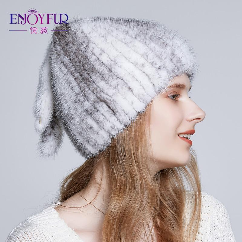 ENJOYFUR Natural Winter Hats For Women Three Tails Type Fur Hat 2018 High  Quality Luxury Knitted Caps Knitted Hats Knit Cap From Buafy b50d76644d7