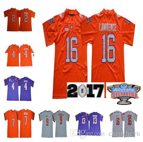 6c25f776c NCAA Clemson Tigers Jersey 16 Trevor Lawrence 4 Deshaun Watson 2 Kelly  Bryant 9 Travis Etienne Jr. 13 Hunter Renfrow College Football Jersey  Clemson Tigers ...