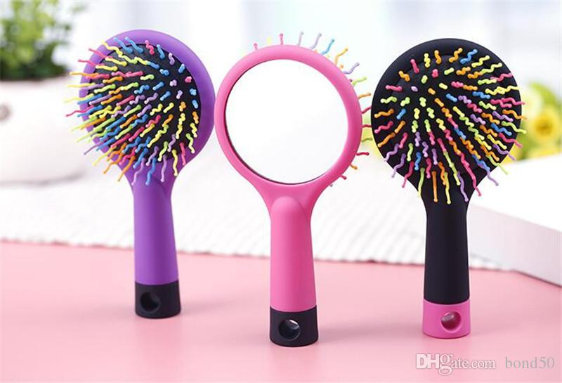 Magic Hot Selling Rainbow Volume Anti-static Magic Hair Curl Straight Massage Comb Brush Styling Tools With Mirror CJ018
