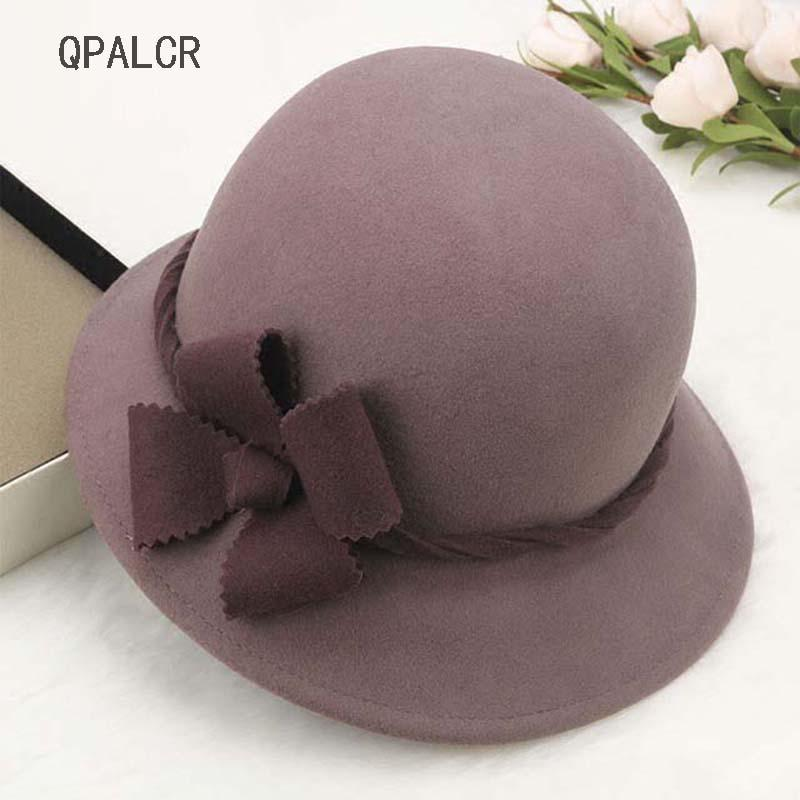 7aa9bd241ae 2019 QPALCR High Quality Winter Wool Felt Hat Women Fedora Hats Elegant  Flower Female Patchwork Color Floral Bucket Hat Bowler From Melontwo