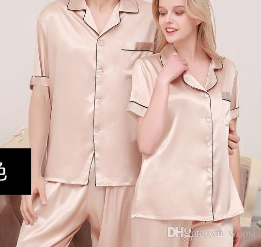 51ed7ed75074 2019 New Spring And Autumn Silk Pair Pajamas Women S Autumn Iced Silk Men S  Pajamas Housewear Short Sleeve Large Size Suit From Woosi