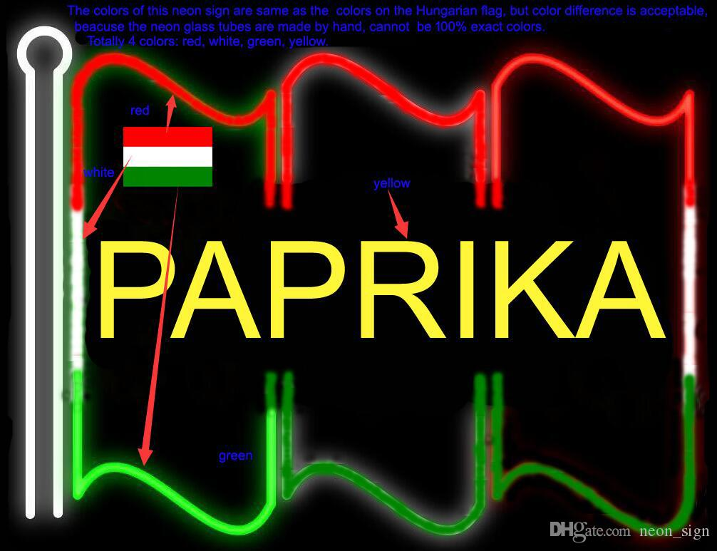 "PAPRIK Flag Neon Sign Customized Handmade Real Glass Tube Decoration Display Neon Signs Accept Colors Difference 24""X20"""