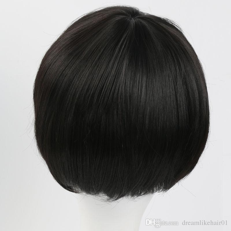 Peluca de pelo sintético recto corto negro clásico para mujeres hombres Peluca de pelo partido de celebridades de Cosplay con el envío libre del casquillo