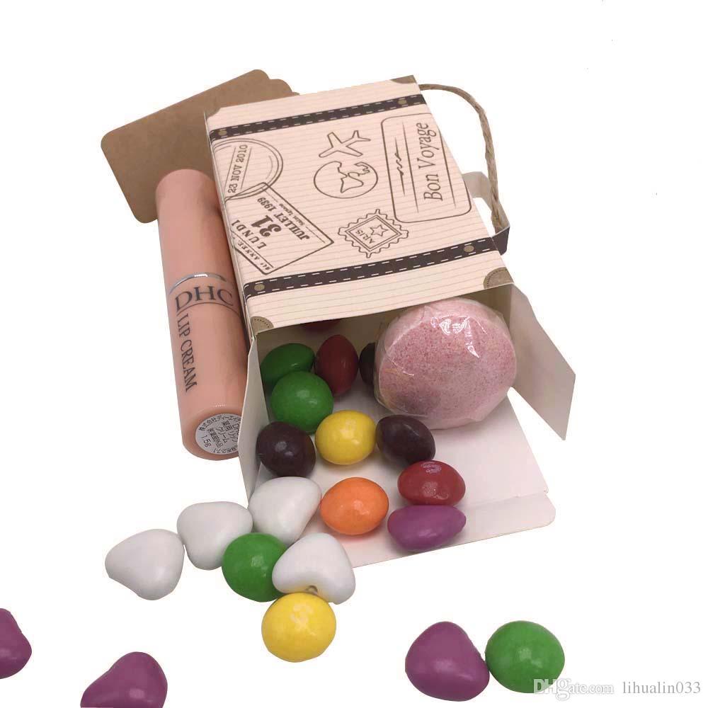 Comercio al por mayor 50 UNIDS Mini Maleta Kraft Caja de Dulces Cajas de Regalo de Boda Fiesta de Cumpleaños Caja de Ducha de Bebé