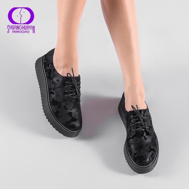 f08c8bcd131f Acheter 2019 AIMEIGAO Printemps Automne Chaussures À Lacets Plate Forme  Plate Épaisse Fond Femmes Casual Chaussures Style Britannique Femmes Brogue  ...