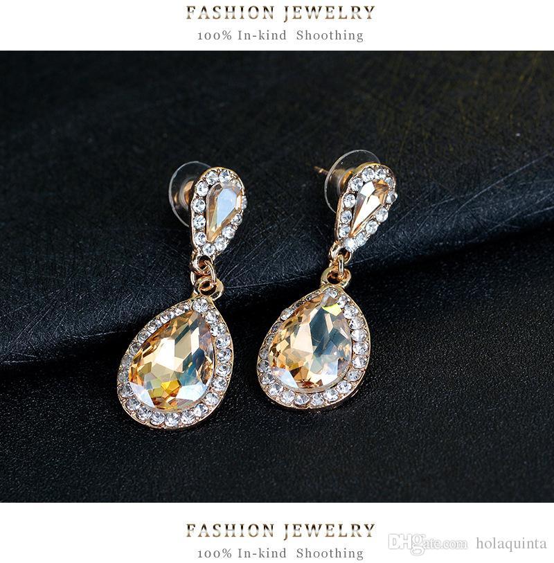 Pendientes largos largos de cristal Joyería de moda Boda Pendientes de champán de gota vintage para mujeres