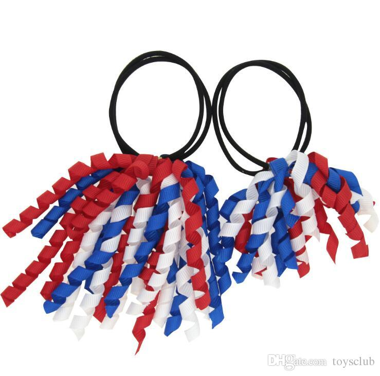 sets Girl Ponytail holders korkers Curly ribbons streamers corker hair bobbles bows flower elastic school boosters