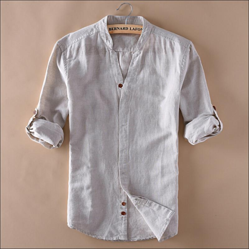 Man Summer Linen Shirts V-Neck Long Sleeve Fashion Slim Fit Chinese Style  Summer Shirt For Man Clothing Wt1050