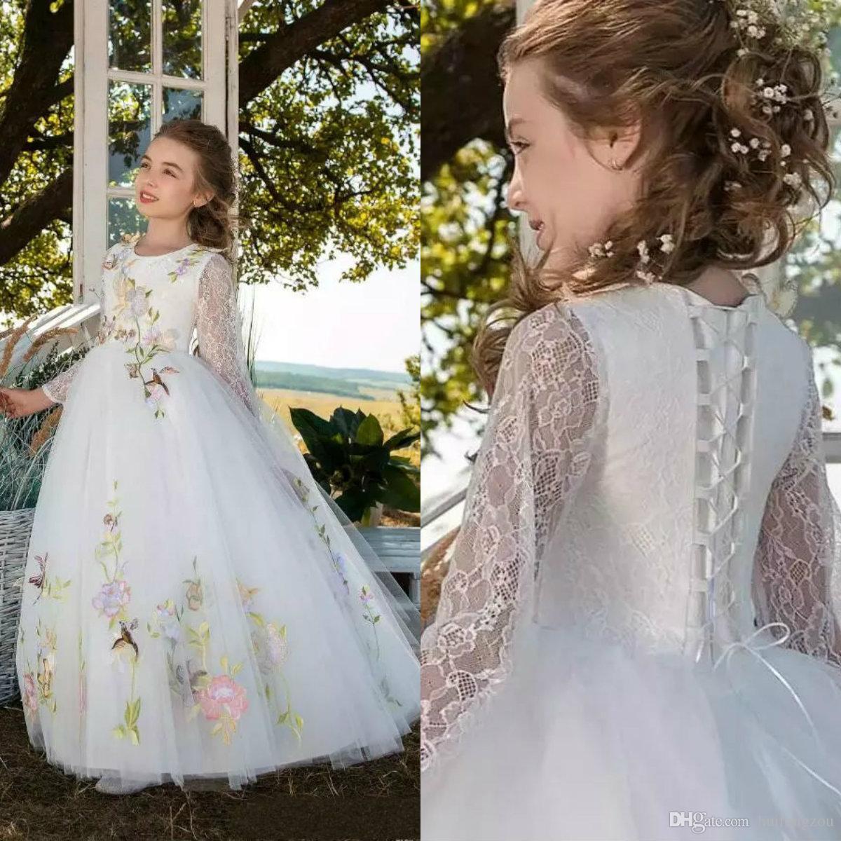 d917f8f00 2019 Vintage Flower Girl Dresses Lace Long Sleeve Handmade Embroidery Tulle  Floor Length Girls Pageant Dress Custom Made Kids Formal Wear Lime Green  Flower ...