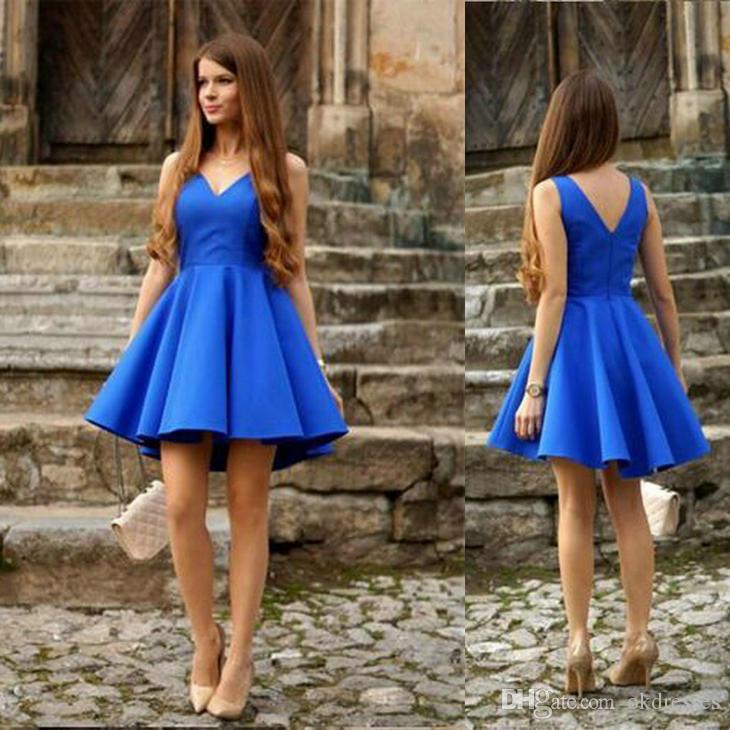 c401076e0 Compre Vestidos De Quinceañera Azul Real Vestidos De Dama De Honor Cortos  Vaina   Columna Con Cuello En V Gasa Sin Espalda Vestidos De Noche Sin  Respaldo ...