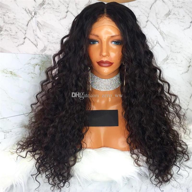 Natural Hairline Malaysian Lace Front Wigs 130% Density Deep Curly Glueless Full Lace Human Hair Wigs 130% Density Bleached Knots