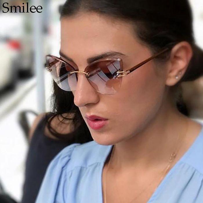 b3cbea6737c 2018Brand Designer Diamond Cut Cat Eye Sunglasses Women Fashion Cat s Eye  Style Rimless Metal Crystal Sun Glasses Womano 0142 Sunglasses For Men ...