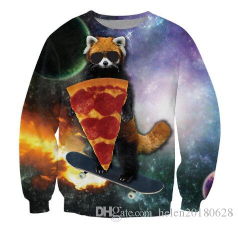 9a7cafc6b531 2019 New Fashion Women Men Hoodie 3D Funny Print Space Glasses Cat Eat  Pizza Sweatshirts Long Sleeve Pullover Hip Hop Streetwear Tops From  Helen20180628