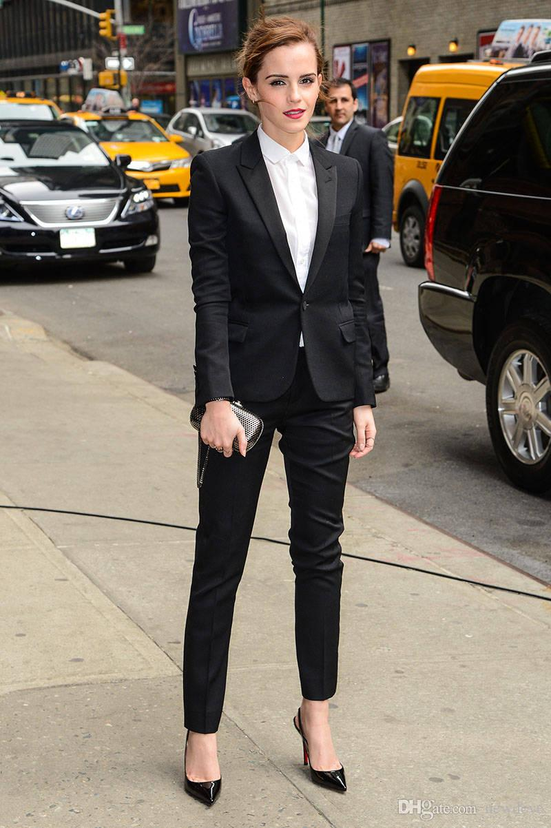 2018 Spring Emma Watson Black Suits Custom Made Formal Business Wear Sexy Pant Suit Office Uniforms