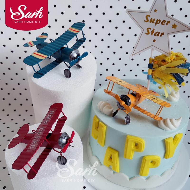 Grosshandel Rote Blaue Gelbe Retro Flugzeug Kuchen Dekorations